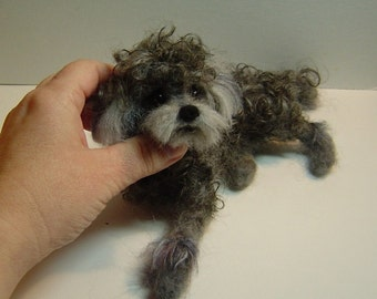 Pet Potrait Poodle Sculpture felted dog art custom made