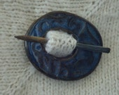 Blue ceramic shawl pin