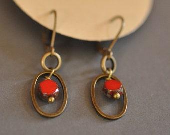 Red bead oval earrings