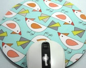 Buy 2 FREE SHIPPING Special!!   Mouse Pad, Round Fabric Computer Mousepad, or Trivet   Tweet Aqua