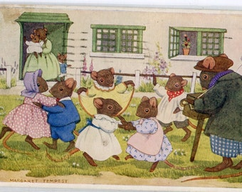 The Hurdy Gurdy by Margaret Tempest, Pk 77, dancing dressed mice vintage postcard vintage postcard, SharonFosterVintage