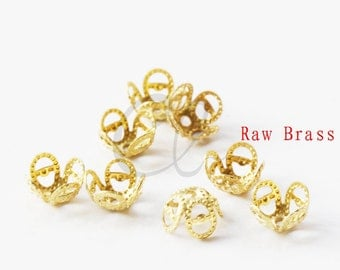 60pcs Raw Brass Flower Bead Cap -  8mm (2009C-P-315)