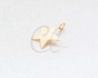 2pcs Premium Matte Gold Plated Brass Base Star Charm - 15.5x18.2mm (1096C-R-312)