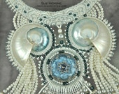 Neptunes Inner Circle Shell, Pearl and Crystal  Bead Embroidered Art Neckpiece