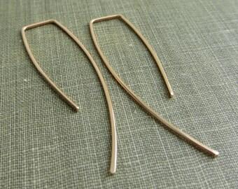 14K Rose Gold Filled Dangle Earrings - Hooks - Simple Modern Minimal Wire Jewelry