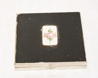 1950s Vintage Compact with Pearlescent Pink Rose by Volupte