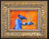 Tiny Framed Crow Oil Painting, Fine Art, Small Bird Painting,