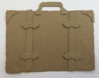 "Large Luggage Suitcase  - Chipboard Die Cuts - Bare Vintage 6"" Valise Embellishments"