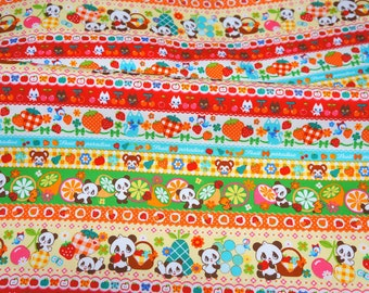 Animal and fruits print fabric half meter 50 cm by 106 cm or 19.6 by 42 inches A21