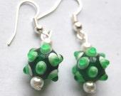 Green St Patricks Day Earrings - Lampwork Green Glass Bead & Pearl Dangle Earrings