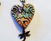 Aromatherapy Essential Oil Diffuser Jewelry Pendant Necklace Dragonfly Ceramic Clay Pottery