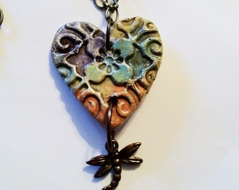 Aromatherapy Essential Oil Diffuser Jewelry Heart Pendant Necklace Dragonfly Ceramic Clay Pottery