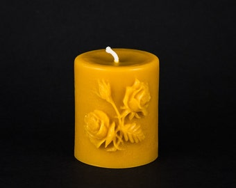 Pure Beeswax Pillar Candle - Rose Design - 3 in. x 4 in. tall - Small