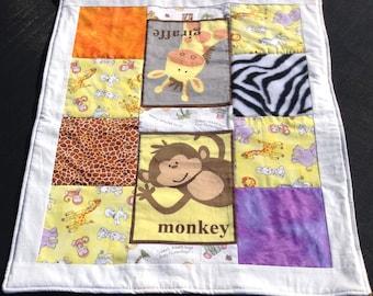 Giraffe, Monkey Soft Minky Stroller Blanket