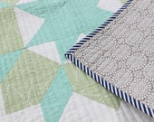 Swoon Wall Hanging Newborn quilt - Navy, Aqua, Green