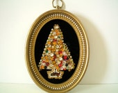 Vintage Framed Jeweled Christmas Tree