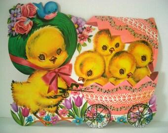 Vintage Cardboard Easter Chick Decoration