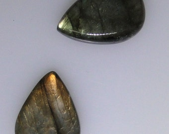 2 Labradorite pear cabs, 40.44 carats total, one copper flash                             043-13-310
