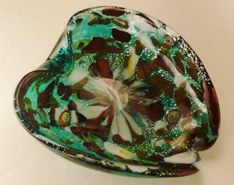 MURANO Italian  MURANO GLASS Bowl Seashell green red white and silver  flecks and clear  scuplturesque 8x7x3 In
