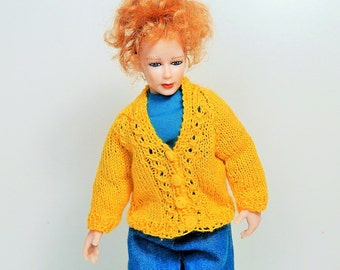 Dollhouse Miniautes Woman's Hand Knit Sunny Yellow Cardigan