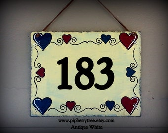 Hand Painted Decorative 7 x 9  Street Address Slate Sign with Heart Border
