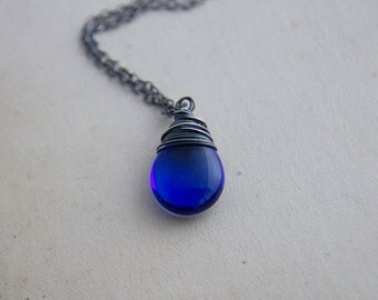 Glass Necklace, Glass Pendant, Sapphire Blue, Cobalt Blue, Wire Wrapped, Sterling Silver, Czech Glass, Pendant Necklace, PoleStar