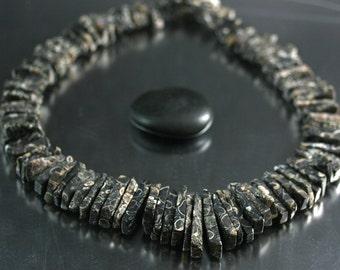 Turritella Agate - Matte Shard Fossil Beads - Turritella - Full Strand