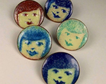 ENAMELED PENNY PINS   Faces  Girl with Bangs
