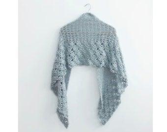 Blue Lace Shawl, Hand Crocheted Shawl, Soft Lace Wrap, Vegan Shawl, Evening Wrap, Autumn Wrap Shawl