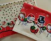 Christmas Towel Set. Santa & Snowmen Towels. Great Hostess Gift. Red, Green and White Towel With Pom Pom Trim. Christmas Linens.