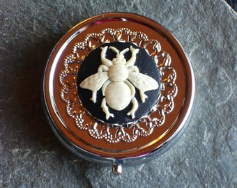 Bee silver pill box container, bumble bee pill box, bridesmaid gift, holiday gift ideas, unique Christmas gift