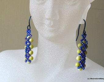 Peridot Jade Earrings bead woven cobalt blue hypoallergenic handmade ear wires boho gypsy style