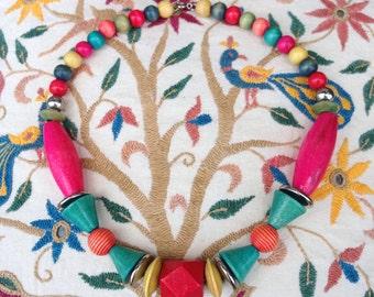 Vintage Neon Geometric Wooden Necklace
