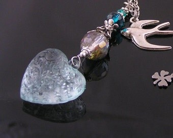 Ornate Aqua Blue Heart Necklace with Bird Charm, Charm Necklace, Choose your color