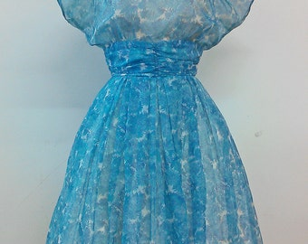 1960s Chiffon party dress blue floral print Small