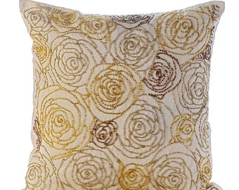 "Luxury Gold Pillows Cover, Beaded Rose Flowers Floral Theme Glitter Pillows Cover Square  18""x18"" Silk Pillows Cover - Gold Dust Rose"