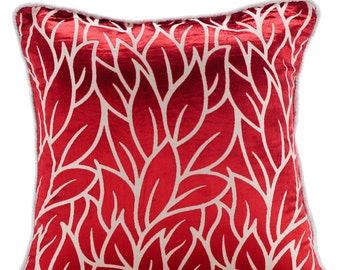 """Luxury  Cayenne Red Pillows Cover, Leaf Design Tropical Theme Throw Pillows Cover 18""""x18"""" Burnout Velvet Pillow Covers - Cayenne Red Leaves"""