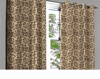 Jasper Brown Flower Power Grommet Lined Curtain in Textured Jacquard Weave Fabric Decor and Housewares Window Treatment Drape Curtain Panels