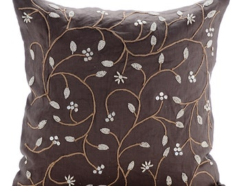 "Brown Decorative Pillows Cover, 16""x16"" Cotton Linen Throw Pillows Cover, Square  Beaded Leaves Garden Botanical Pillows Cover - Pearl Aroma"