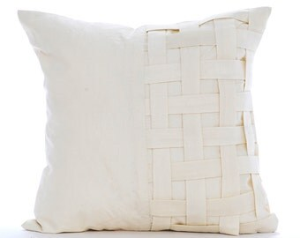 """Handmade Ivory Pillows Cover, 16""""x16"""" Silk Pillows Covers For Couch, Square  Basket Weave Checkered Solild Color Pillows Cover -Ivory Bricks"""
