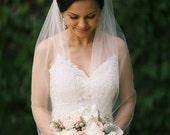 Bridal Veil Fingertip Length, One Layer Veil, Wedding Veil, White Ivory Diamond White Tulle Veil