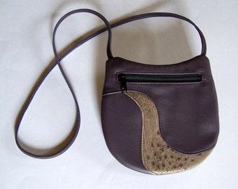 Purple Leather Purse with Ostrich Leather Inlay - Crossbody Style Festival Bag - Medium Round Handbag - Eggplant Purple Leather Purse