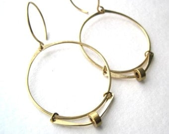 BRASS Hoops Links and Circle Earrings