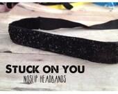 no slip | non slip | fitness headband | yoga headband | running headband | marathon | softball | sparkle  | black glitter |