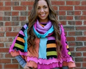 Reconstructed Sweater Poncho ~ One Size Fits Most ~ Recycled Sweaters ~ Reconstructed Clothing ~ Cowl Neck Poncho
