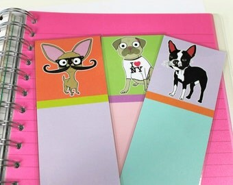 Bookmark Set, Boston Terrier, Chihuahua, Pug, Dog Themed, Bookmarks