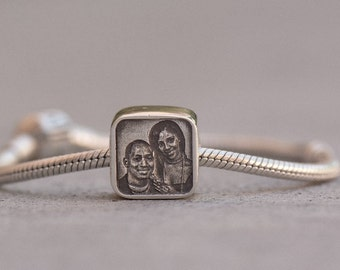 Engraved Photo Charm - Sterling Silver fits Pandora Bracelets.