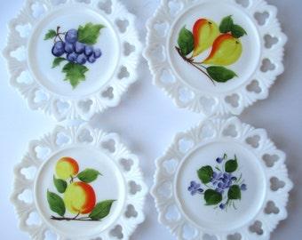 Vintage Milk Glass Fruit FloralLacy Plates Set of Four