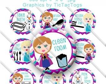 Printable Snow Princess Chore Chart Behavior Reward DIY magnets Girl Bottle Cap Images Chevron 1 Inch Circles - Instant Download