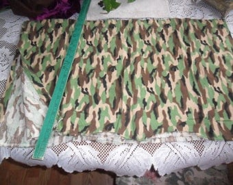 3 Vintage Camouflage FLANNEL Valance Curtains - or upcycle the fabric